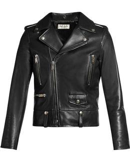 Shrunken-fit Leather Biker Jacket