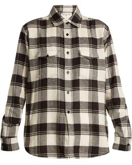 Madras-checked Long-sleeved Cotton Shirt