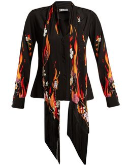 Flower And Flames-print Silk Crepe De Chine Shirt