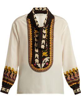 Lhamu Suzani-print Silk Blouse