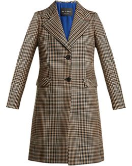 Single-breasted Prince Of Wales-checked Wool Coat