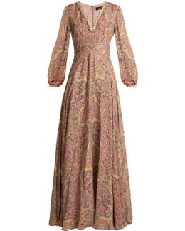 Paisley-print Bead-embellished Silk Gown