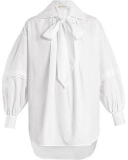 Versaille Oversized-collar Cotton-poplin Blouse