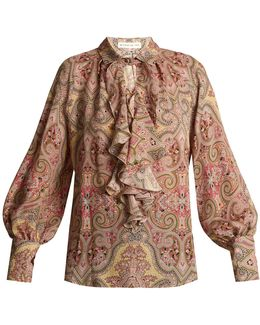 Villandry Paisley-print Ruffled Silk Shirt