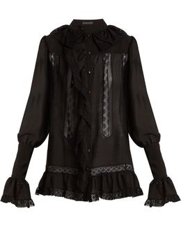 Versaille Ruffle-trimmed Silk-voile Blouse