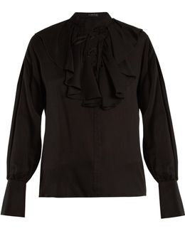 Fluted-bib Jacquard Silk Blouse