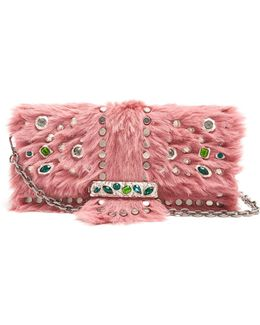 Crystal-embellished Calf-hair Clutch