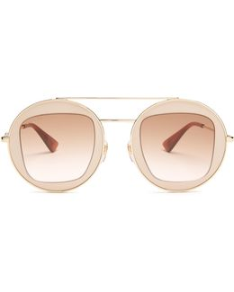 Round-frame Metal Aviator Sunglasses