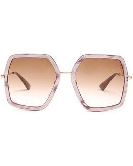 Oversized Hexagon-frame Sunglasses