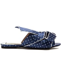 Bow-front Polka-dot Print Satin Slides