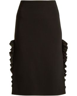 Ruffle-trimmed Stretch-crepe Pencil Skirt