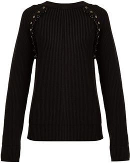 Embellished Ribbed-knit Wool Sweater