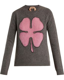 Crystal-embellished Clover-intarsia Wool Sweater