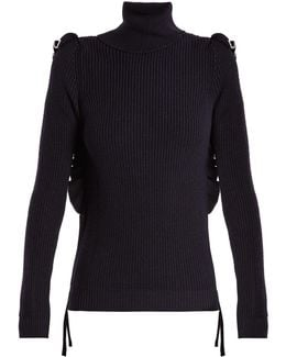 Ruffle-trimmed Roll-neck Wool Sweater