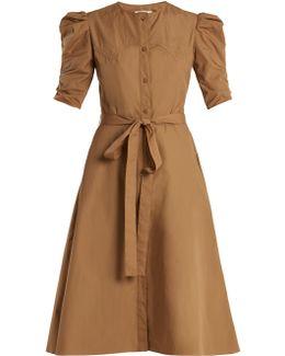 Puff-sleeved Cotton-poplin A-line Dress