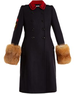 Fur-trimmed Double-breasted Wool Coat