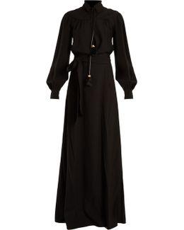 Long-sleeved Waist-tie Crepe Gown