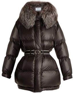 Fur-trimmed Quilted-nylon Hooded Coat