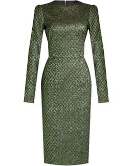 Long-sleeved Diamond-jacquard Dress