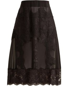Lace-appliqué Georgette Skirt