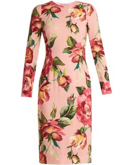 Round-neck Rose-print Crepe-cady Dress