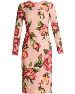 Round-neck Rose-print Crepe-cady Dress