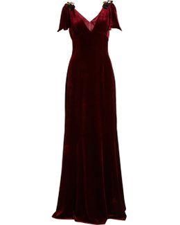 Embellished V-neck Velvet Gown