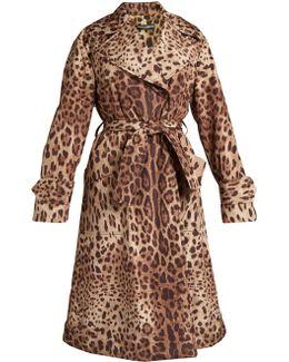 Leopard-print Tie-waist Coat