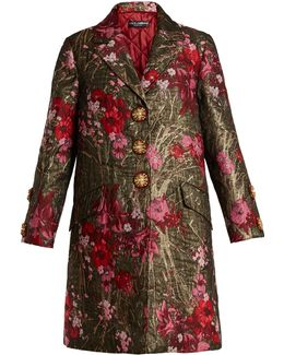Single-breasted Floral-jacquard Coat