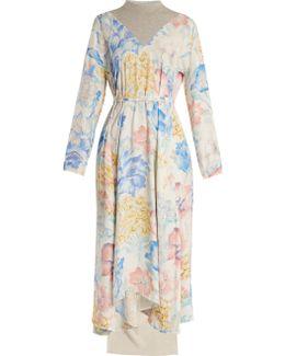 Contrast-panel Floral-print Dress