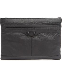 Clip M Grained-leather Pouch
