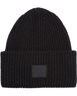 Pansy Face Wool-blend Beanie Hat