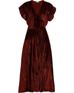 Deep V-neck Velvet Midi Dress