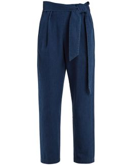 High-rise Straight-leg Belted Denim Trousers