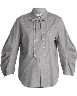 Detachable-bow Cotton Shirt