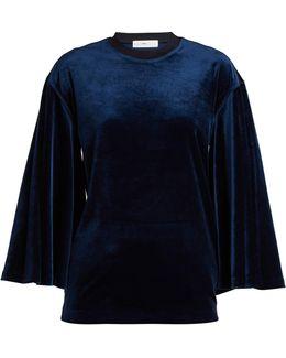 Flared-sleeves Velvet Top