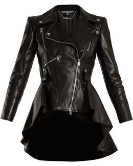 Waterfall-hem Leather Jacket