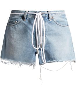 Raw-edge Denim Shorts