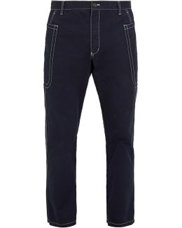 Contrast-stitching Cotton Cropped Trousers