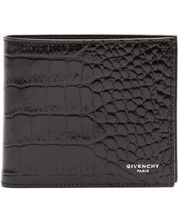 Bi-fold Crocodile-effect Leather Wallet