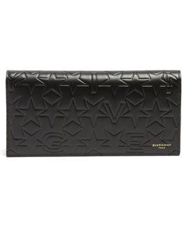 Logo And Star-debossed Bi-fold Leather Wallet