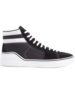 High-top Suede And Canvas Trainers