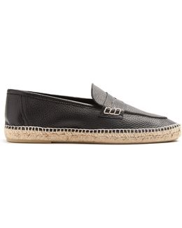 Grained-leather Espadrille Penny Loafers