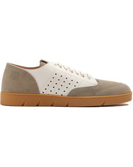 Low-top Leather And Suede Trainers