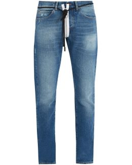 Diagonal Frayed-edge Embellishment Slim-leg Jeans