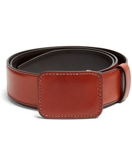 Large Buckle Leather Belt
