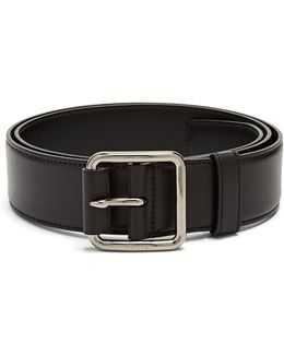 Engraved-buckle Leather Belt