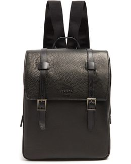 Top-flap Grained-leather Backpack