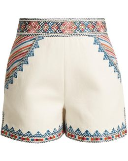 Zoya-embroidered Cotton Shorts