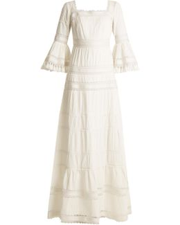 Fluted-sleeve Pleated Cotton Maxi Dress